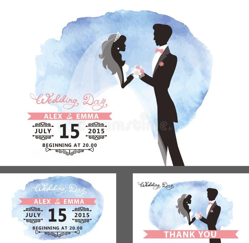 Insieme del modello di nozze Sposa, sposo, acquerello ciano illustrazione vettoriale