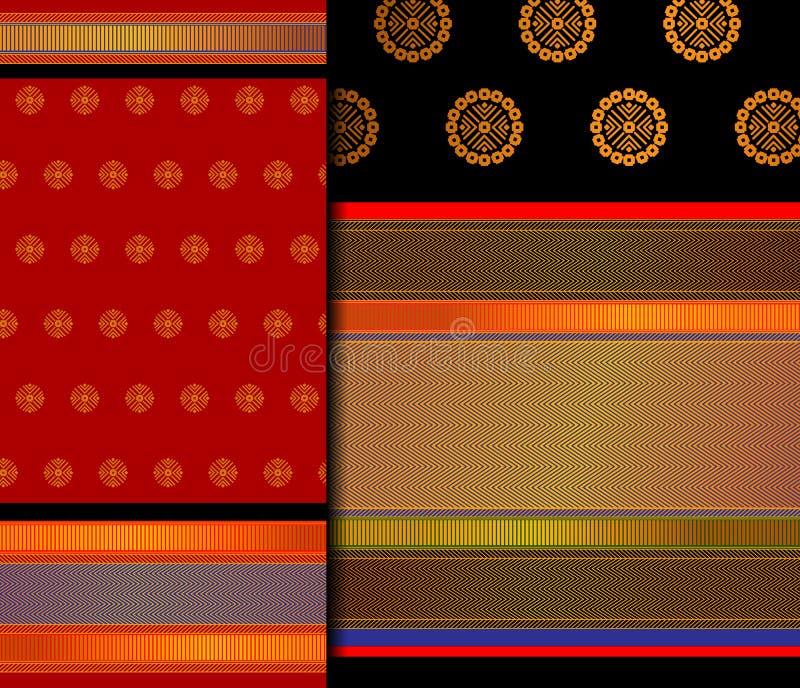 Insieme del modello di Pattu Sari Vector dell'indiano fotografia stock libera da diritti