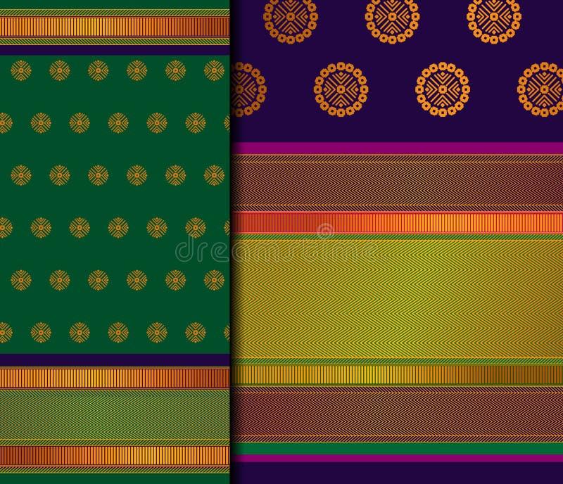Insieme del modello di Pattu Sari Vector dell'indiano fotografie stock libere da diritti