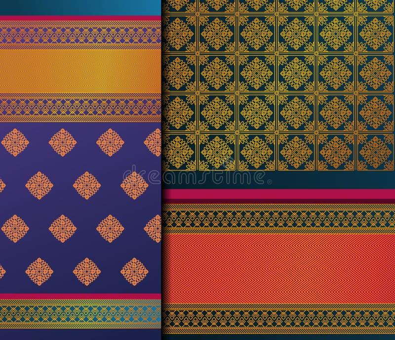 Insieme del modello di Pattu Sari Vector dell'indiano fotografie stock
