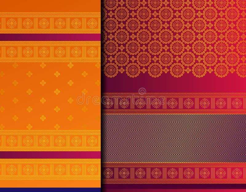 Insieme del modello di Pattu Sari Vector dell'indiano immagini stock libere da diritti