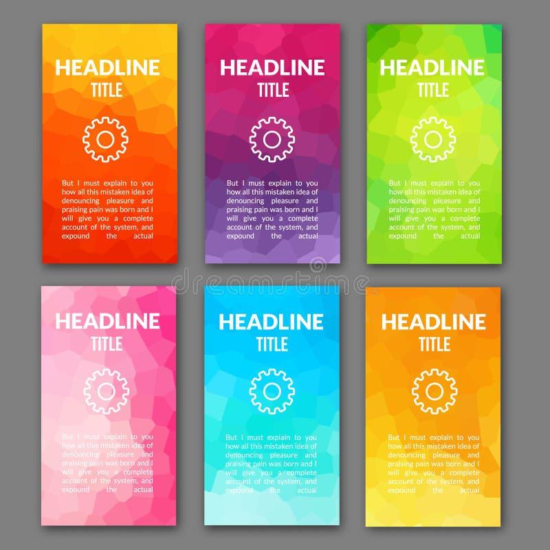 Insieme del modello di progettazione degli ambiti di provenienza di web Aletta di filatoio dell'opuscolo Contesto mobile di conce illustrazione di stock