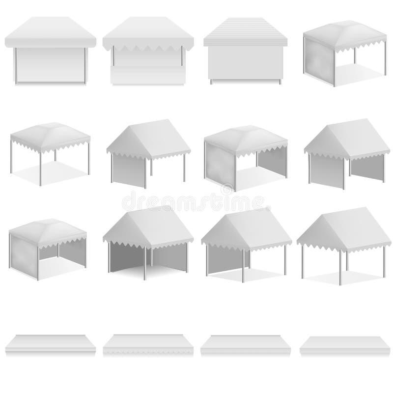Insieme del modello di sporgenza della tettoia del baldacchino, stile realistico illustrazione di stock