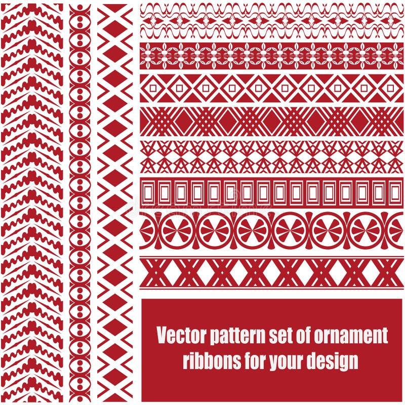 Insieme del modello di vettore dei nastri/strisce dell'ornamento per la vostra progettazione fotografie stock