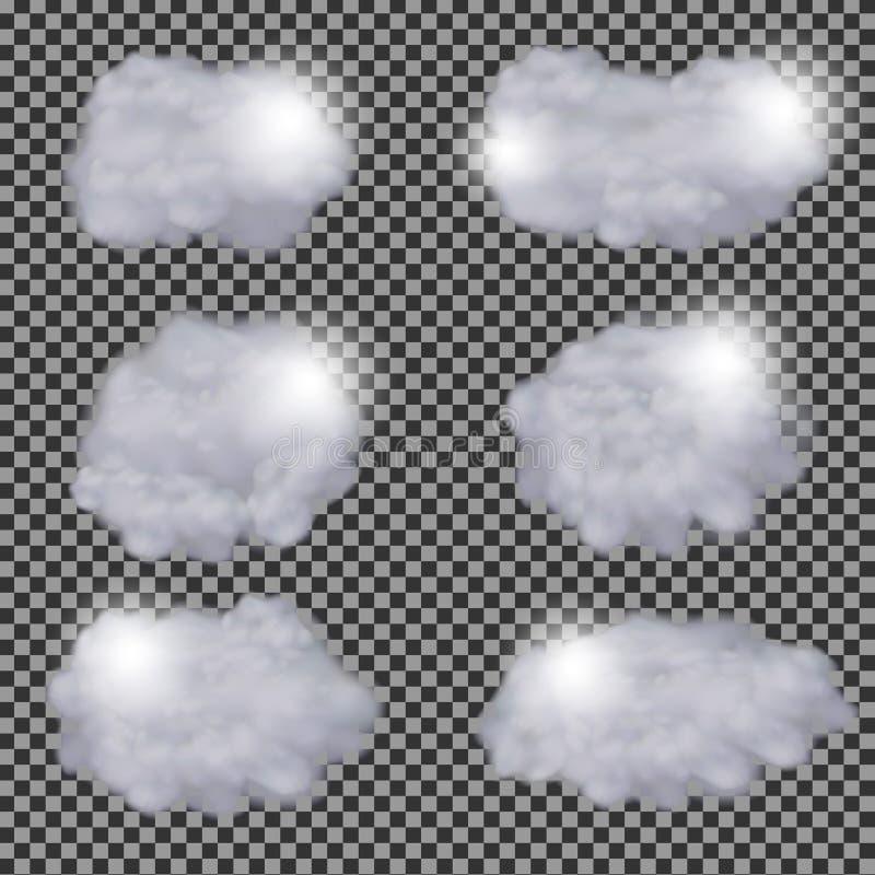 Insieme del modello differente trasparente realistico di progettazione di vettore delle nuvole royalty illustrazione gratis