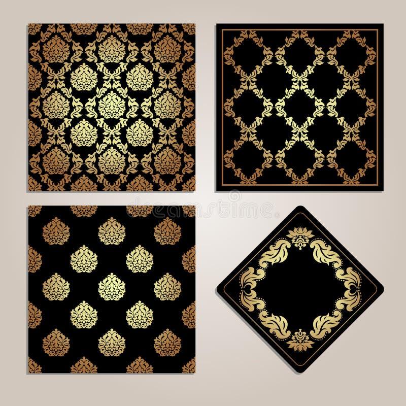 Insieme del modello e del telaio senza cuciture dell'oro Motivi del damasco illustrazione vettoriale