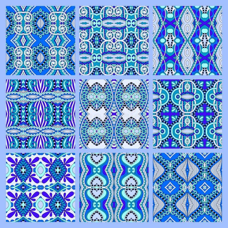 Insieme del modello geometrico d'annata colorato senza cuciture blu royalty illustrazione gratis