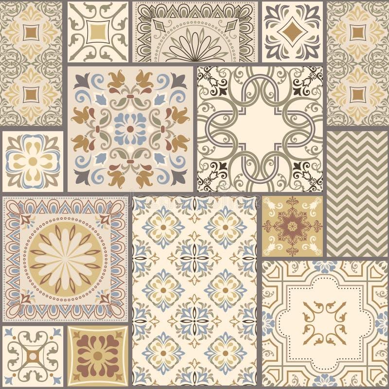 Insieme del modello geometrico senza cuciture differente, della struttura per la carta da parati, delle mattonelle, del fondo del illustrazione vettoriale