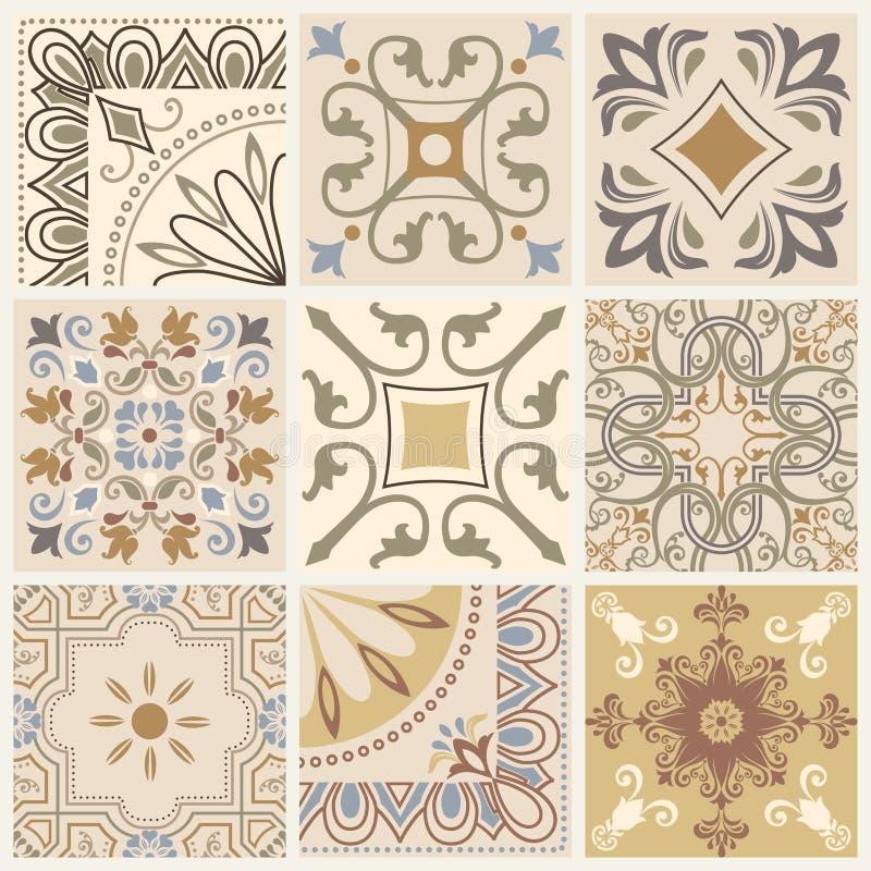 Insieme del modello geometrico senza cuciture differente, della struttura per la carta da parati, delle mattonelle, del fondo del royalty illustrazione gratis