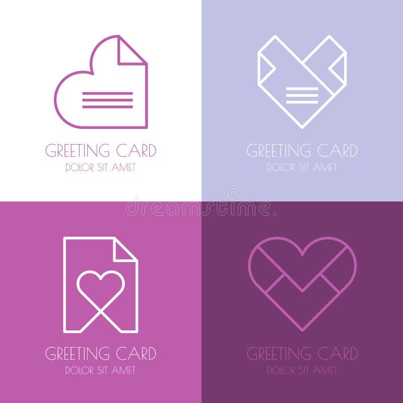 Insieme del modello semplice di progettazione di logo di vettore Lettera di amore di carta, lui royalty illustrazione gratis