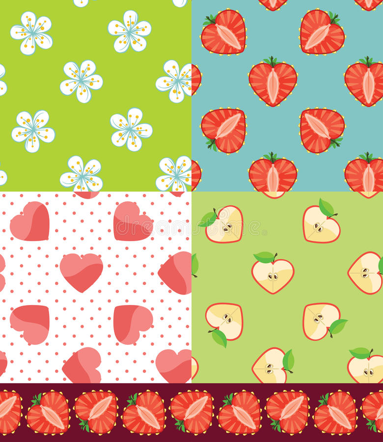 Insieme del modello senza cuciture della frutta Fragola, Apple, cuori, fiori illustrazione di stock