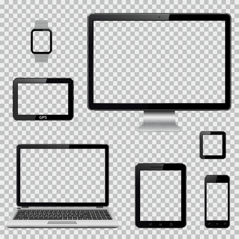 Insieme del monitor realistico del computer, del computer portatile, della compressa, del telefono cellulare, dell'orologio astut illustrazione di stock