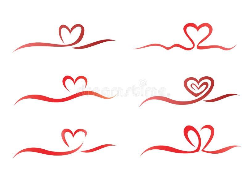 Insieme del nastro del cuore illustrazione vettoriale