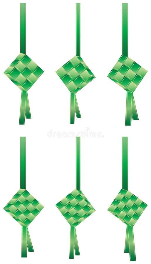 Insieme del nastro di verde di Ketupat illustrazione vettoriale