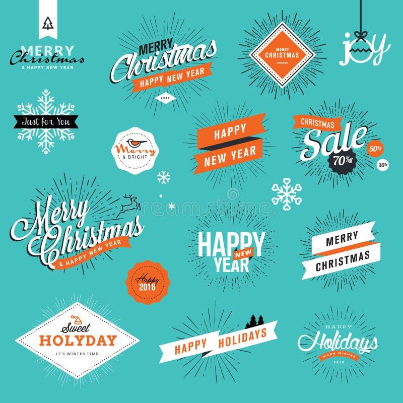 Insieme del Natale d'annata e gli autoadesivi e gli elementi del nuovo anno royalty illustrazione gratis