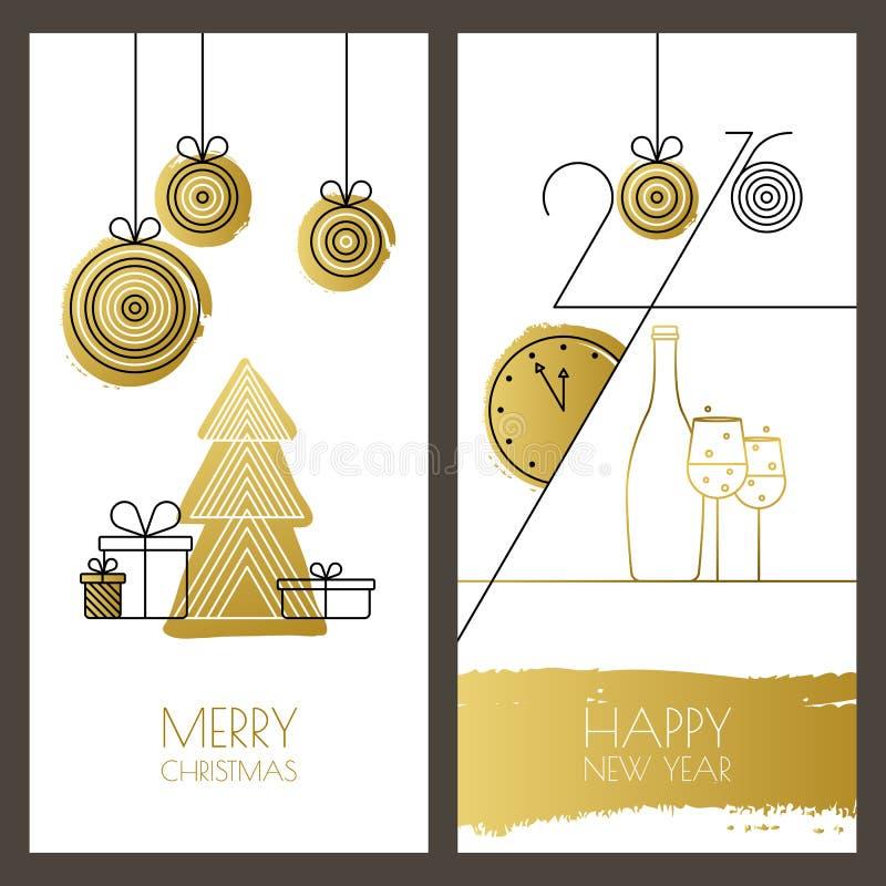 Insieme del Natale disegnato a mano universale di vettore, saluto del nuovo anno royalty illustrazione gratis