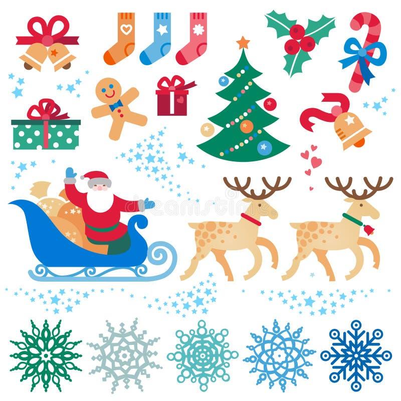 Insieme del Natale, elementi di vettore del buon anno illustrazione di stock