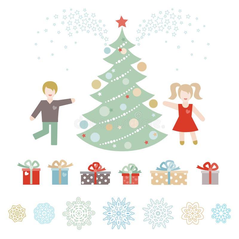 Insieme del Natale, elementi di vettore del buon anno illustrazione vettoriale