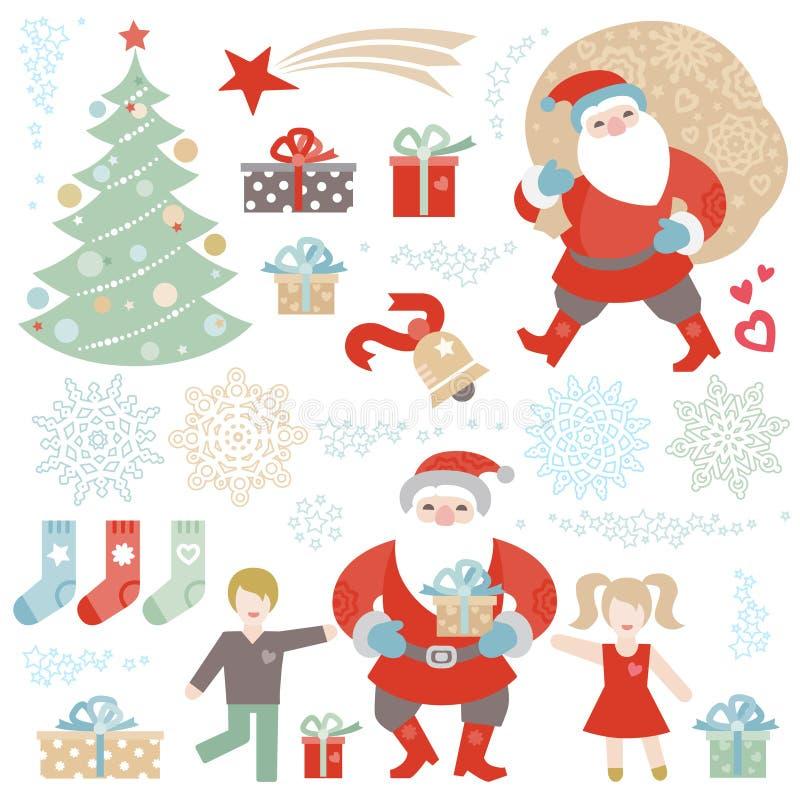 Insieme del Natale, elementi di vettore del buon anno royalty illustrazione gratis