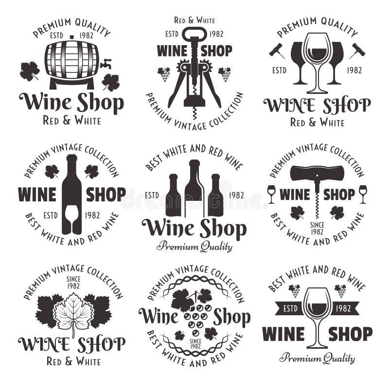 Insieme del negozio di vino degli emblemi dell'annata del nero di vettore illustrazione di stock