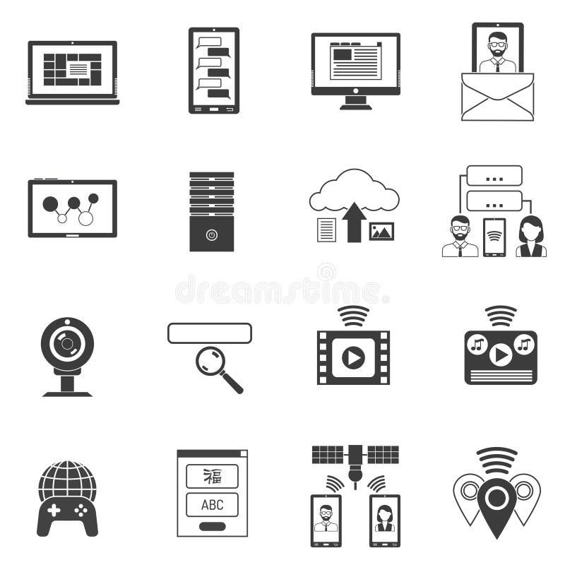 insieme del nero delle icone illustrazione di stock