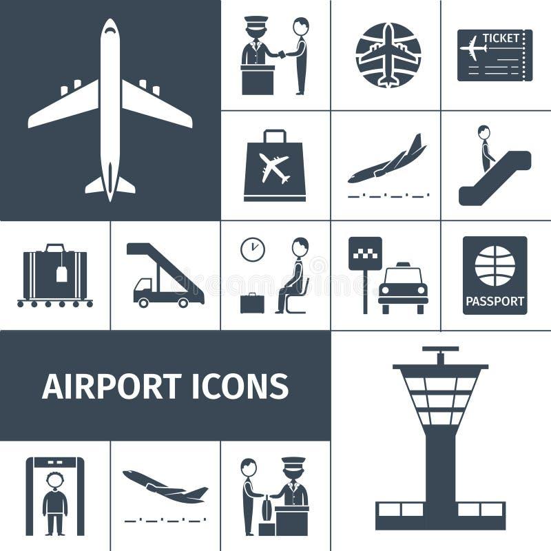 Insieme del nero delle icone dell'aeroporto royalty illustrazione gratis