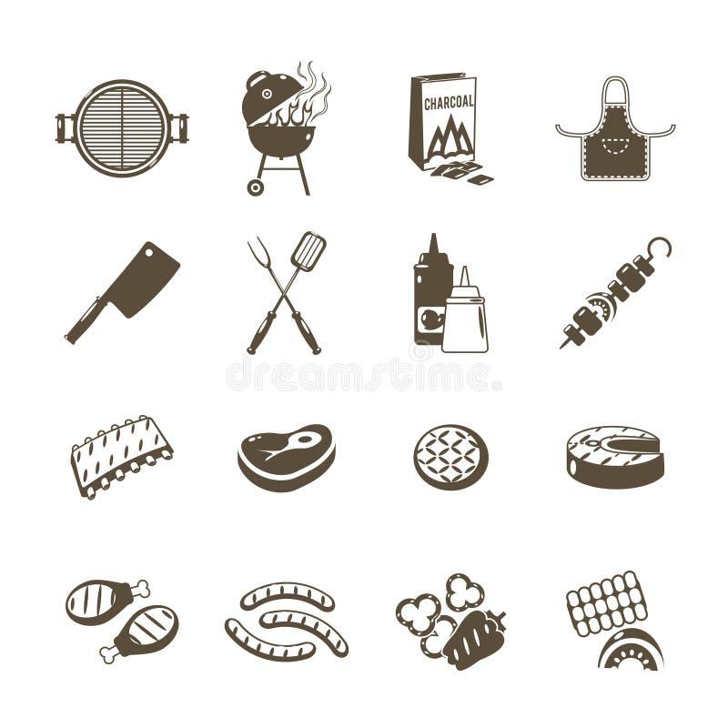 Insieme del nero delle icone della griglia e del barbecue illustrazione di stock