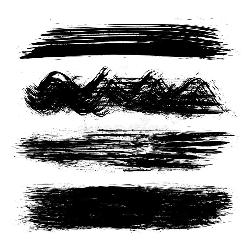 Insieme del nero di pittura, colpi della spazzola - vettore illustrazione di stock