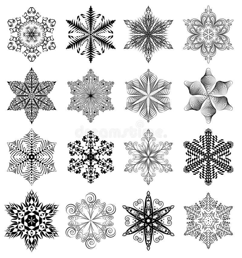 Insieme del nero del fiocco di neve illustrazione di stock
