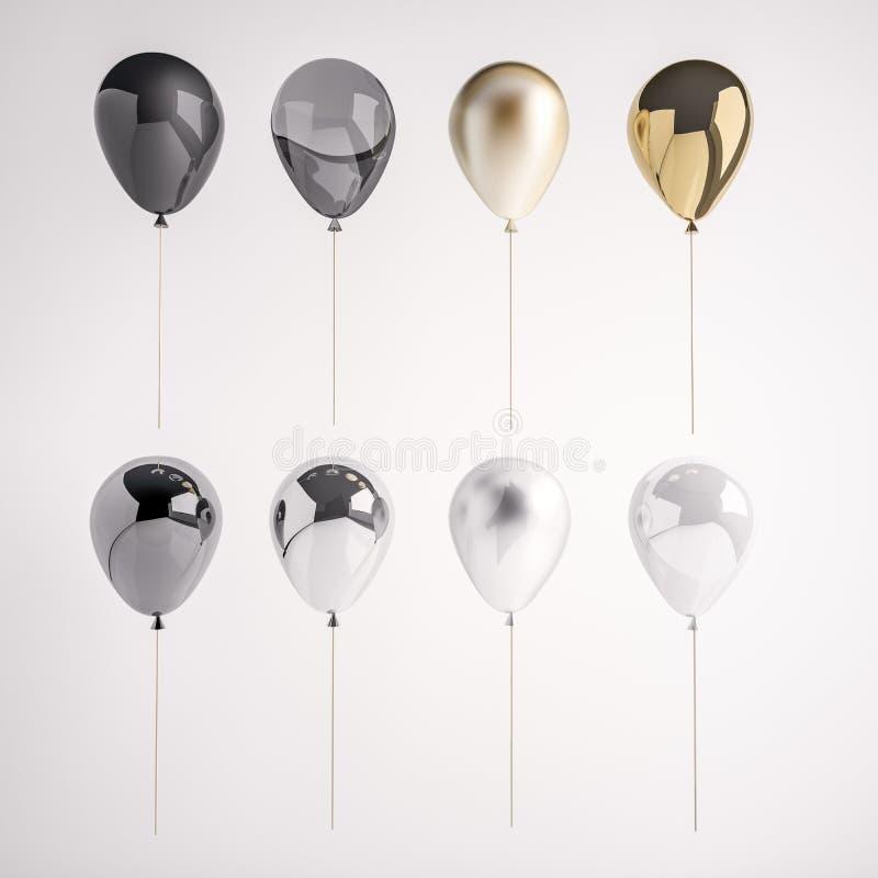 Insieme del nero del raso e lucido, del bianco, dei palloni realistici dorati e d'argento 3D sul bastone per il partito, degli ev royalty illustrazione gratis