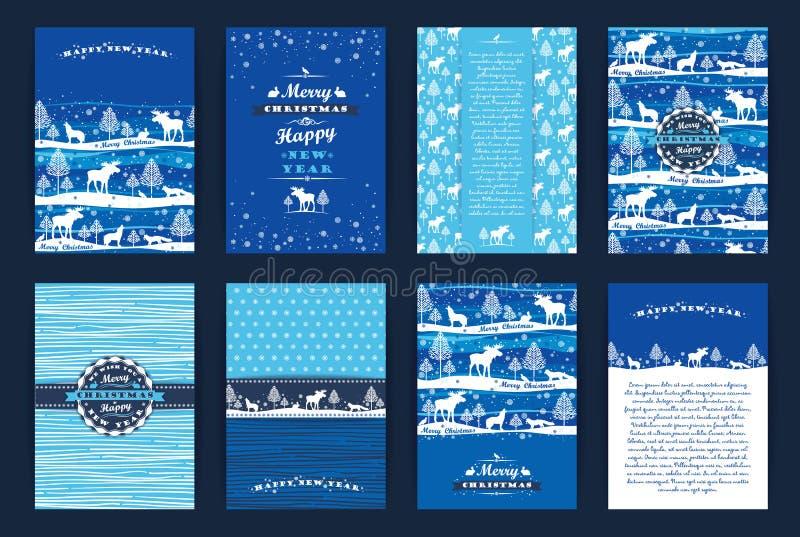 Insieme del nuovo anno e di Natale illustrazione vettoriale
