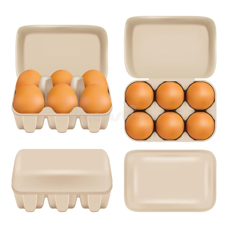 Insieme del pacchetto del consumatore del cartone dell'uovo di vettore illustrazione vettoriale