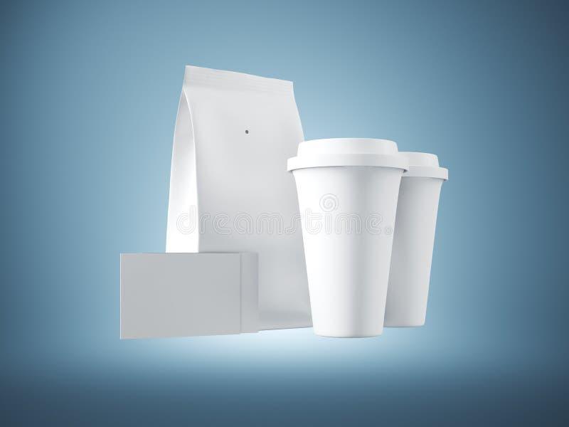 Insieme del pacchetto del Libro Bianco, delle tazze di caffè e di due biglietti da visita in bianco Priorità bassa per una scheda immagine stock libera da diritti