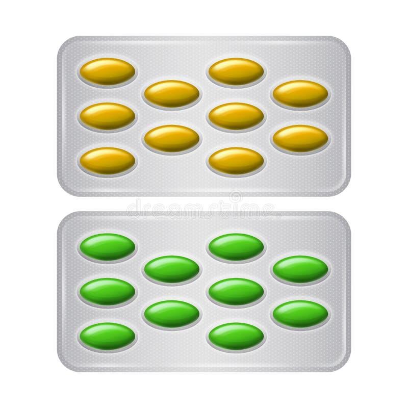 Insieme del pacchetto delle pillole Gruppo di droghe farmaceutiche realistiche di verde giallo royalty illustrazione gratis