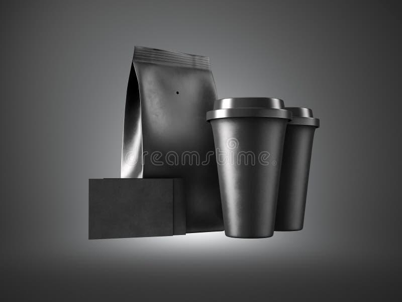 Insieme del pacchetto di carta, delle tazze del coffe e di due biglietti da visita in bianco 3d rendono fotografie stock