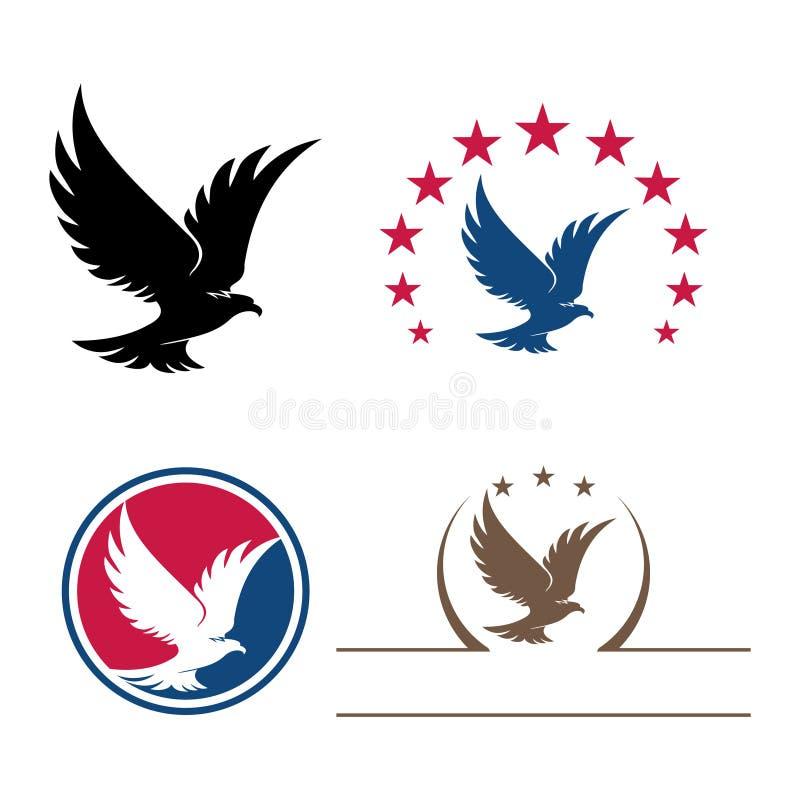Insieme del pacco di simbolo di Eagle Star Bird Flying Logo illustrazione vettoriale