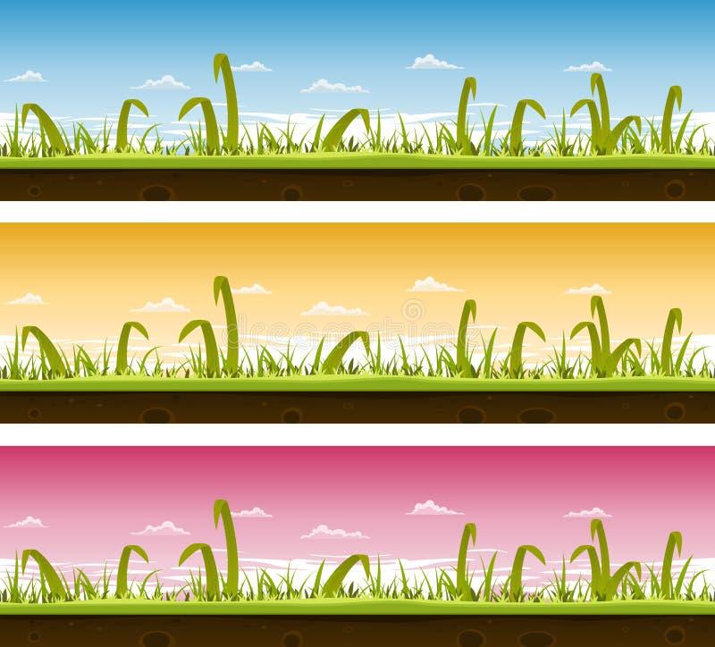 Insieme del paesaggio del prato inglese e dell'erba illustrazione vettoriale