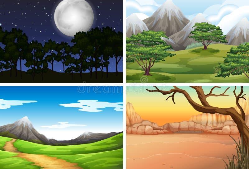 Insieme del paesaggio della natura illustrazione di stock