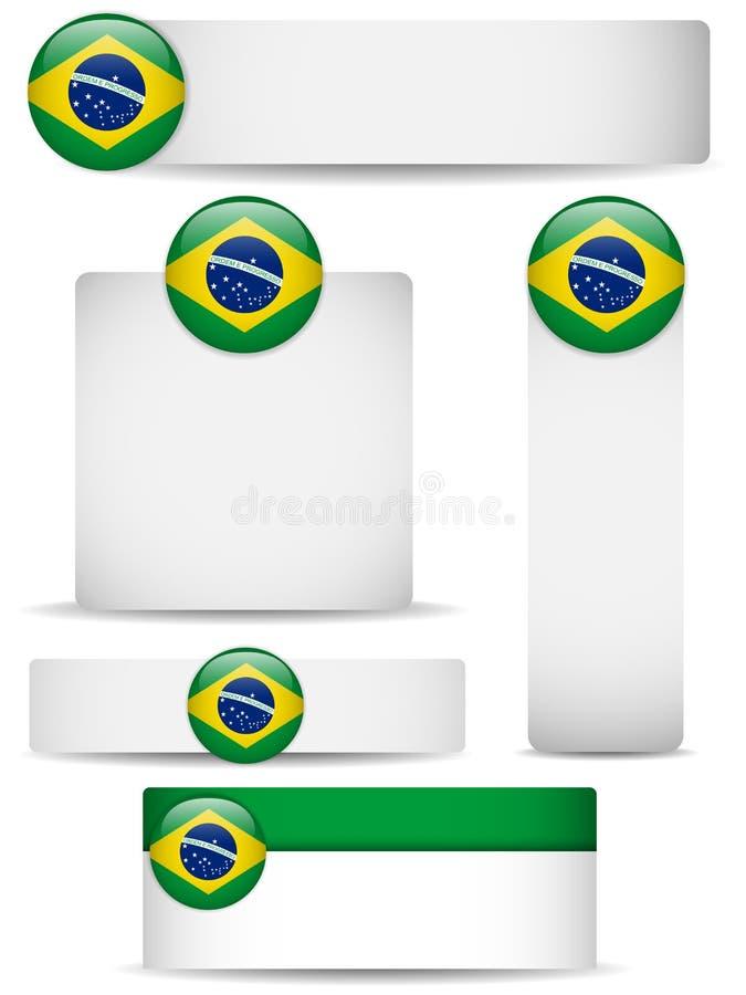 Insieme del paese del Brasile delle bandiere illustrazione vettoriale