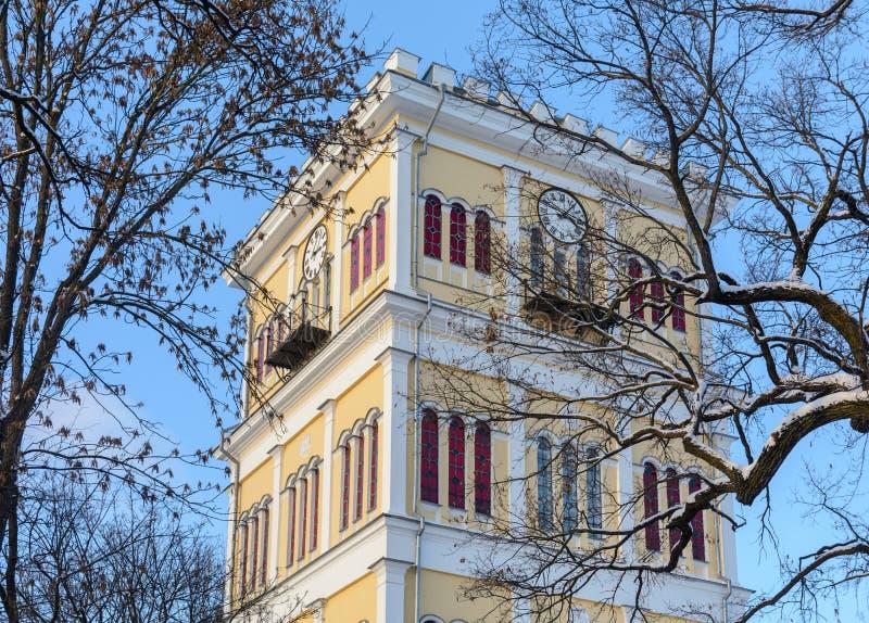 Insieme del palazzo e del parco di Homiel' Vista della parte centrale del palazzo di Paskevich e di Rumyantsev La parte centrale  fotografie stock