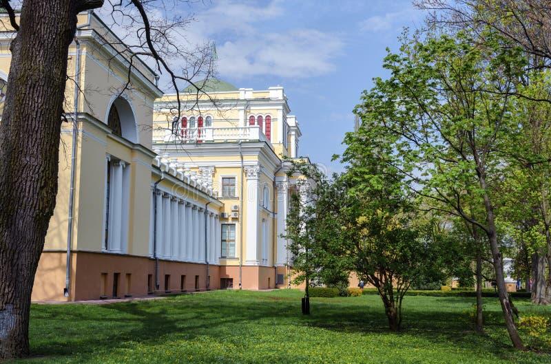 Insieme del palazzo e del parco di Homiel' Vista della parte centrale del palazzo di Paskevich e di Rumyantsev La parte centrale  immagini stock libere da diritti