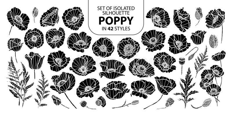 Insieme del papavero isolato della siluetta in 42 stili L'illustrazione disegnata a mano sveglia di vettore nel profilo bianco ed illustrazione vettoriale