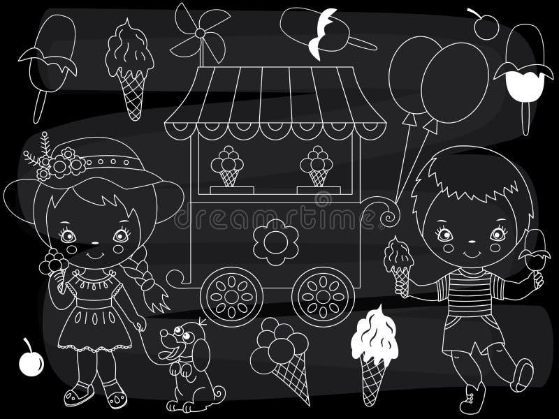 Insieme del partito del gelato della lavagna di vettore Bambini di vettore con il gelato sul fondo della lavagna illustrazione vettoriale