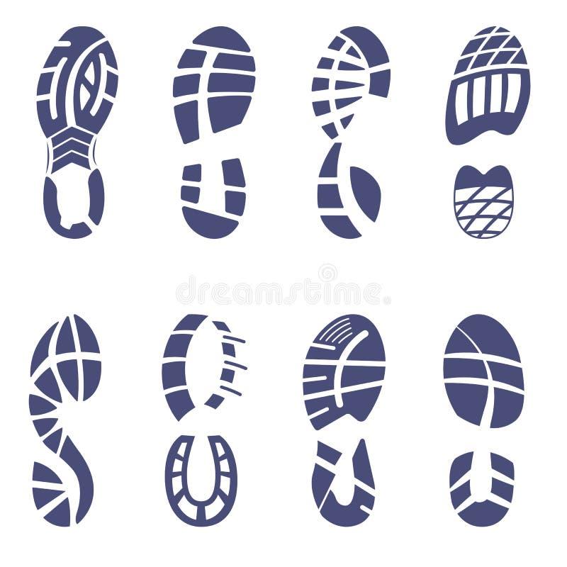 Insieme del passo della scarpa da tennis illustrazione vettoriale