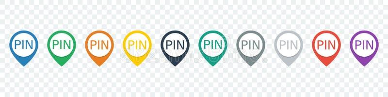 Insieme del perno di posizione Mappi gli indicatori Icone di Pin Icone del puntatore royalty illustrazione gratis