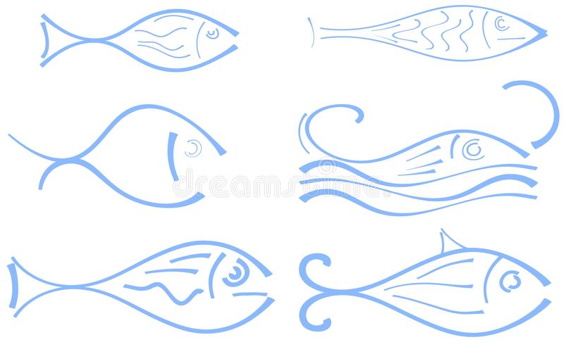 Insieme del pesce stilizzato illustrazione di stock