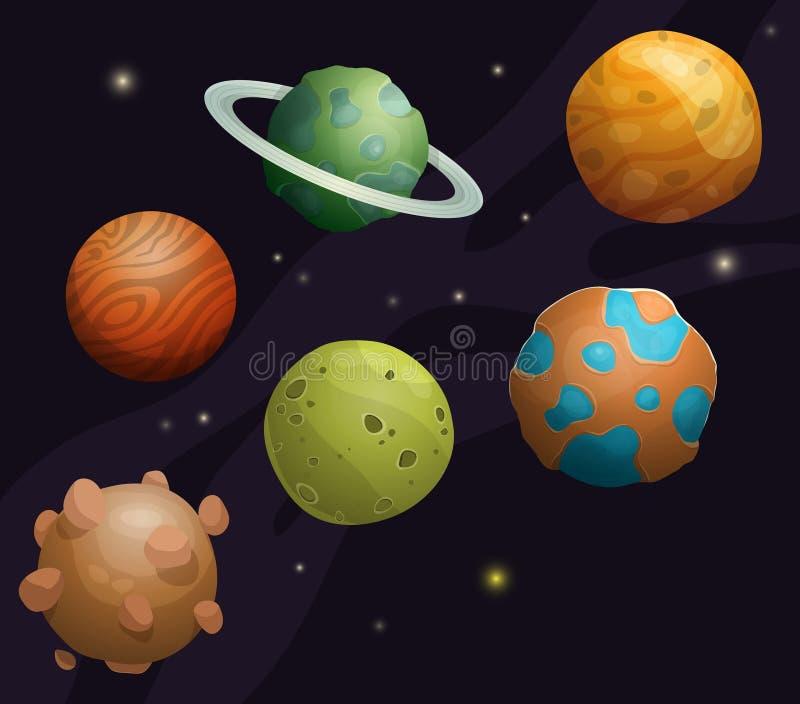 Insieme del pianeta fantastico del fumetto sul fondo dello spazio illustrazione di stock