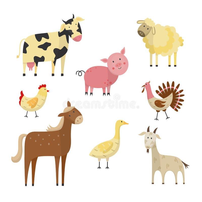 Insieme del piano degli animali da allevamento e degli uccelli di vettore royalty illustrazione gratis