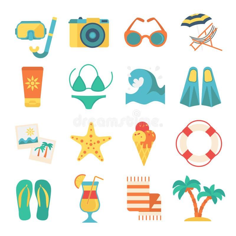 Insieme del piano dell'icona della spiaggia illustrazione vettoriale