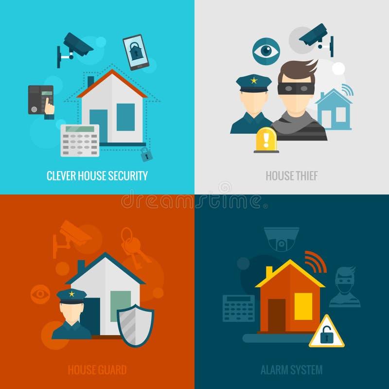 Insieme del piano di sicurezza domestica illustrazione di stock